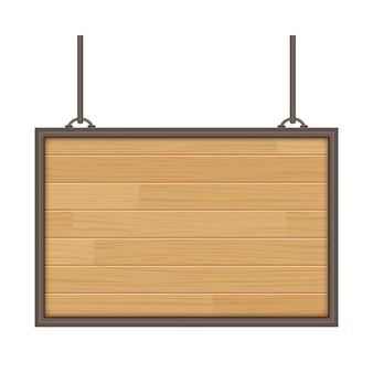 Sinal de madeira vector isolado no fundo branco