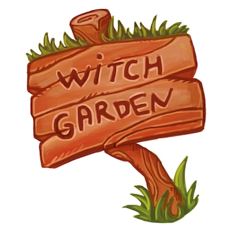 Sinal de madeira velho que diz o jardim da bruxa. ilustração mágica fofa. bruxaria wicca.