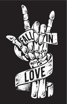 Sinal de mão de esqueleto com ilustração de fita de amor