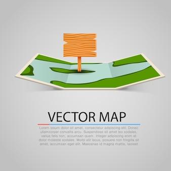 Sinal de mapa de papel com ponteiro de madeira