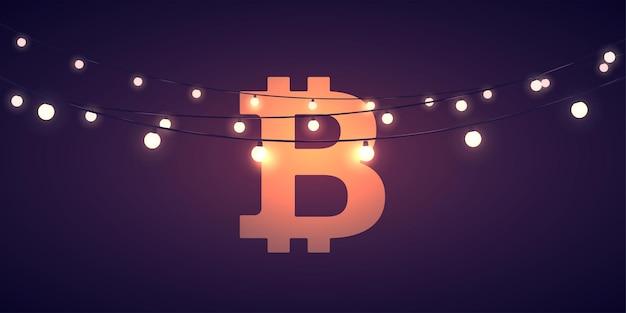 Sinal de moeda digital bitcoin com luzes