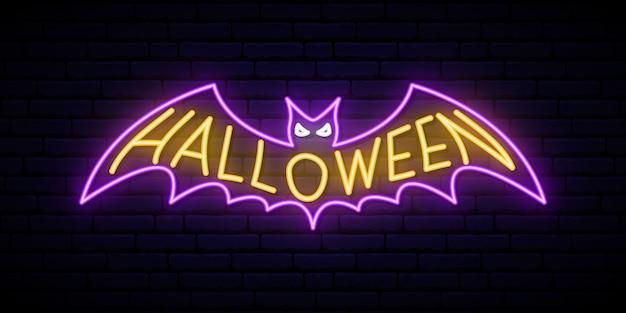 Sinal de morcego de halloween de néon.
