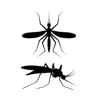 Sinal de mosquito preto bebe sangue. perfil e vista superior. isolado em ilustração vetorial branca