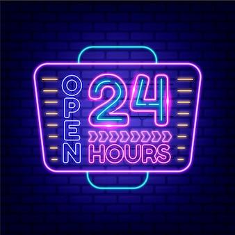 Sinal de néon aberto 24 horas brilhando