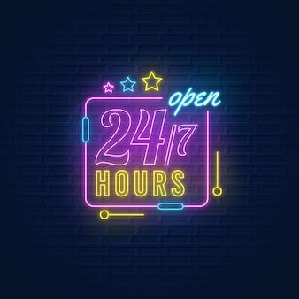 Sinal de néon aberto 24 horas por dia, 7 dias por semana