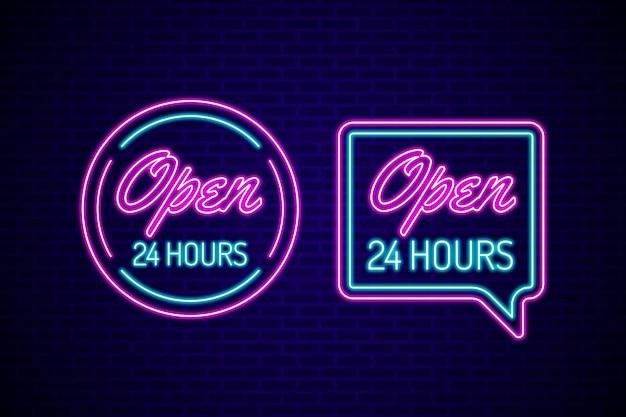 Sinal de néon aberto vinte e quatro horas