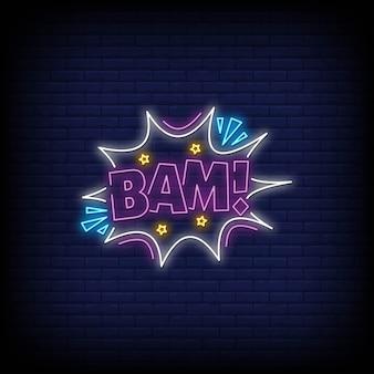 Sinal de néon bam em estilo neon