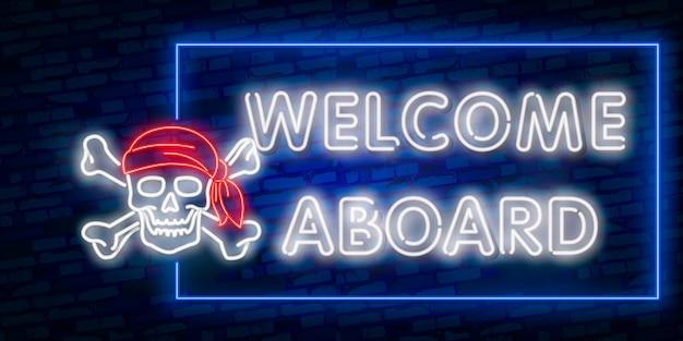Sinal de néon bem-vindo, molde do projeto, projeto moderno da tendência, tabuleta de néon da noite, propaganda brilhante da noite, bandeira clara, arte clara.