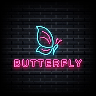 Sinal de néon borboleta, luz