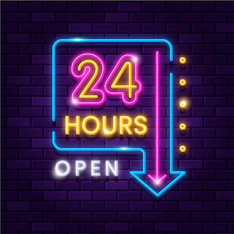 Sinal de néon brilhante aberto vinte e quatro horas