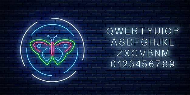 Sinal de néon brilhante batterfly colorido em quadros redondos com alfabeto no fundo da parede de tijolo escuro. emblema do panfleto de primavera em círculo. símbolo de publicidade de rua à noite. ilustração vetorial.