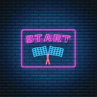 Sinal de néon brilhante com sinalizadores de acabamento e texto de início na faixa de opções. símbolo abstrato de novo projeto ou estratégia de negócios