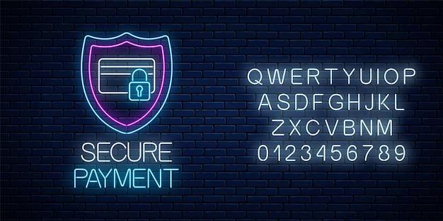 Sinal de néon brilhante de pagamento seguro com alfabeto. símbolo de proteção de pagamento com escudo e cartão de crédito com fechadura.