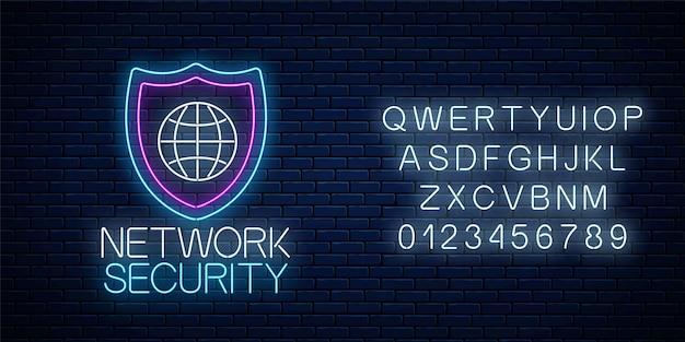 Sinal de néon brilhante de segurança de rede com alfabeto no fundo da parede de tijolo escuro. símbolo de proteção da internet com escudo e globo. ilustração vetorial.