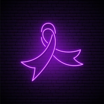 Sinal de néon brilhante do dia mundial do câncer