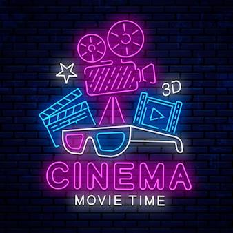 Sinal de néon brilhante e bonito para o cinema.