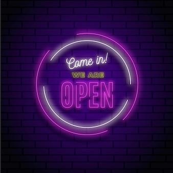 Sinal de néon brilhante 'estamos abertos'