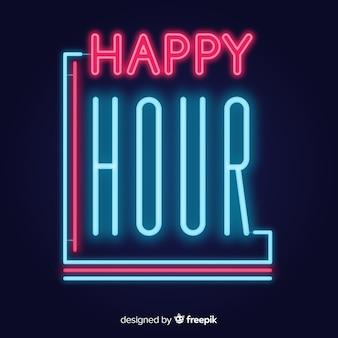 Sinal de néon brilhante happy-hour