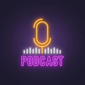 Sinal de néon brilhante podcast brilhante.