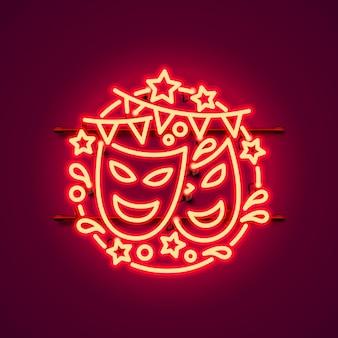 Sinal de néon carnaval, cor vermelha.