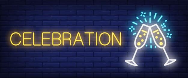 Sinal de néon celebração