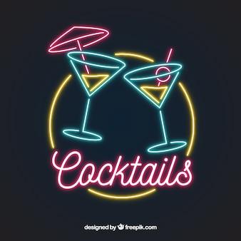 Sinal de néon cocktail colorido