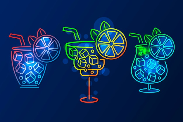Sinal de néon cocktail, tabuleta brilhante, luz banner. emblema do logotipo da coquetel