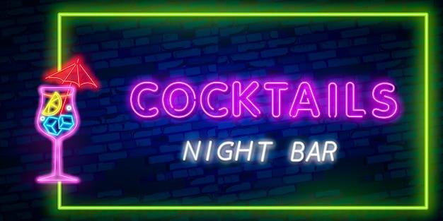 Sinal de néon cocktail