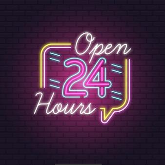 Sinal de néon colorido aberto 24 horas