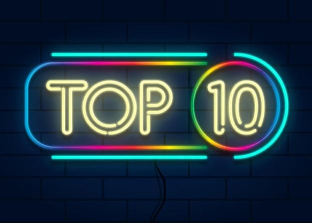 Sinal de néon colorido dos dez primeiros