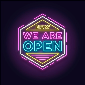 Sinal de néon colorido 'estamos abertos'
