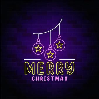 Sinal de néon com ideia de decoração de feliz natal