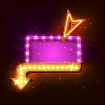 Sinal de néon com seta e luzes brilhantes