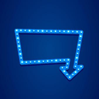 Sinal de néon com seta para abrir o texto, entrada disponível. ilustração vetorial