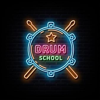 Sinal de néon da escola de bateria, símbolo de néon