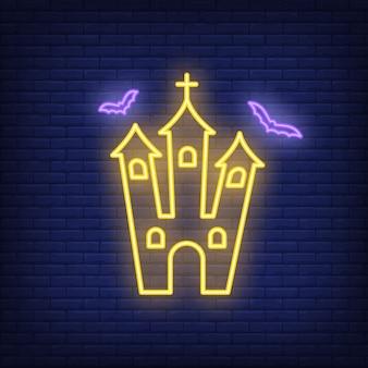 Sinal de néon da igreja assustador