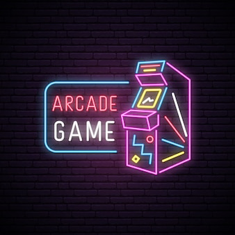 Sinal de néon da máquina de jogo arcade.