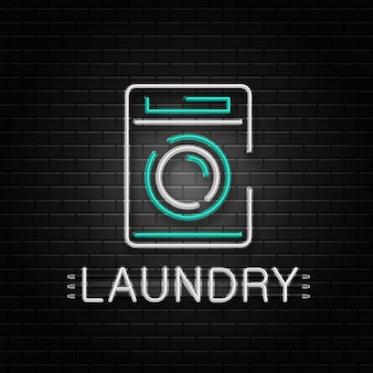 Sinal de néon da máquina de lavar para decoração no fundo da parede. logotipo de néon realista para lavanderia. conceito de serviço de limpeza e limpeza.