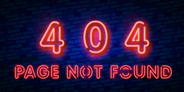 Sinal de néon da página de erro 404