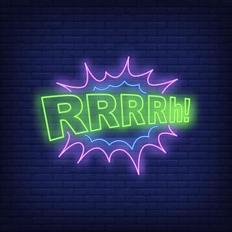 Sinal de néon da rotulação de rrrrh