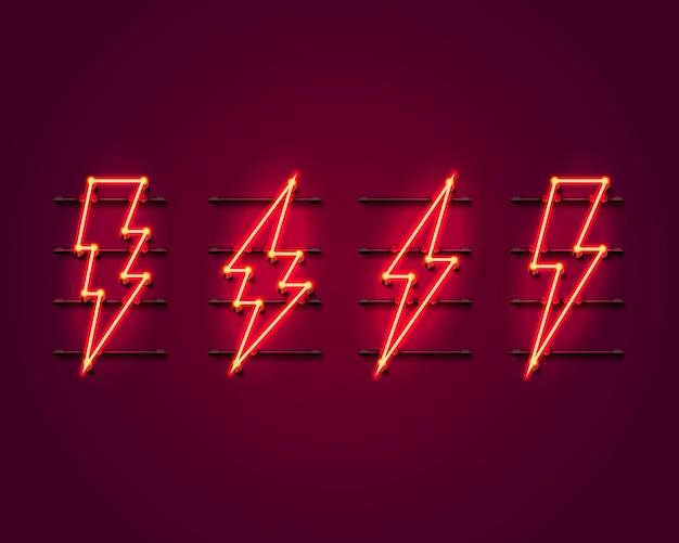 Sinal de néon da tabuleta do relâmpago na parede vermelha.