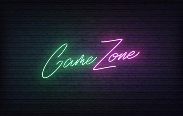 Sinal de néon da zona do jogo. conceito de letras de jogos brilhantes