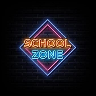 Sinal de néon da zona escolar, símbolo de néon