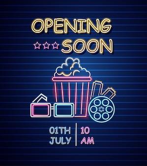 Sinal de néon de abertura de cinema
