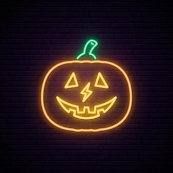 Sinal de néon de abóbora de halloween.