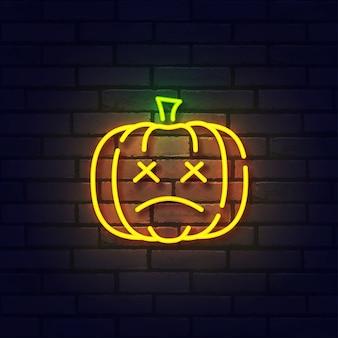 Sinal de néon de abóbora, quadro indicador brilhante, faixa de luz. neon logo de halloween, emblema.