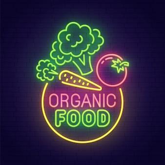 Sinal de néon de alimentos orgânicos