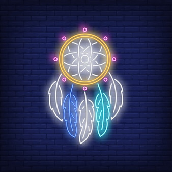 Sinal de néon de apanhador de sonhos