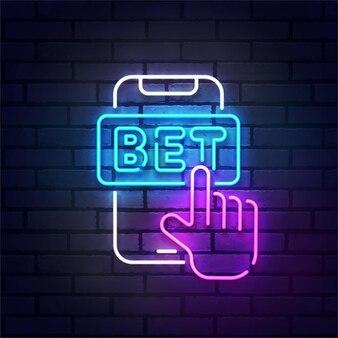 Sinal de néon de apostas faixa luminosa de letreiro luminoso logotipo de apostas esportivas emblema de néon