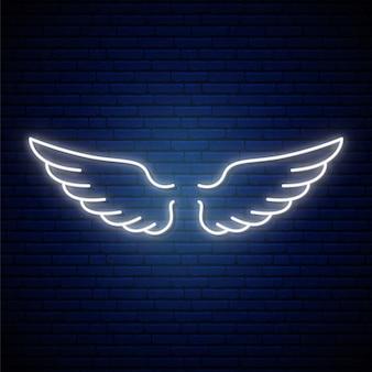 Sinal de néon de asas de anjo.
